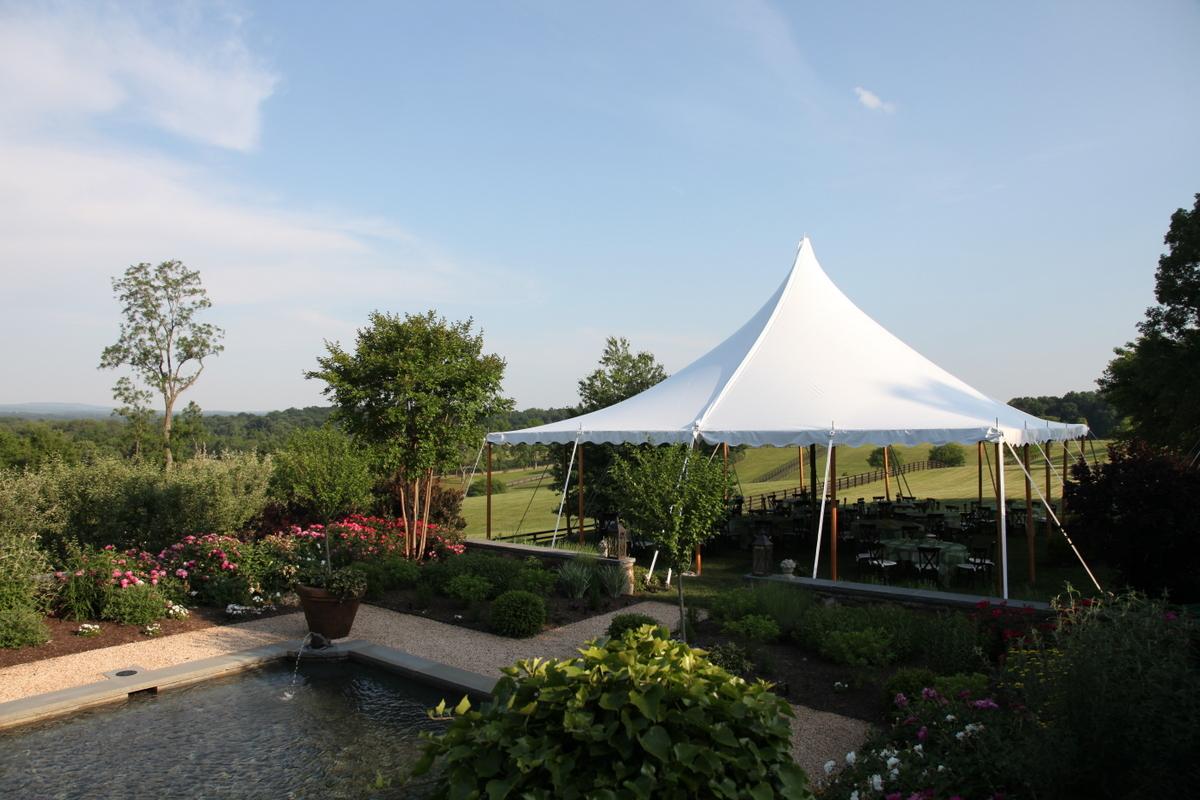 40x40 Century Pole Tent with Hardwood Sidepoles
